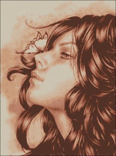 Лицо девушки с бабочкой