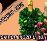 ВИДЕО: Новогодняя елка из шампанского и конфет Мастер-класс