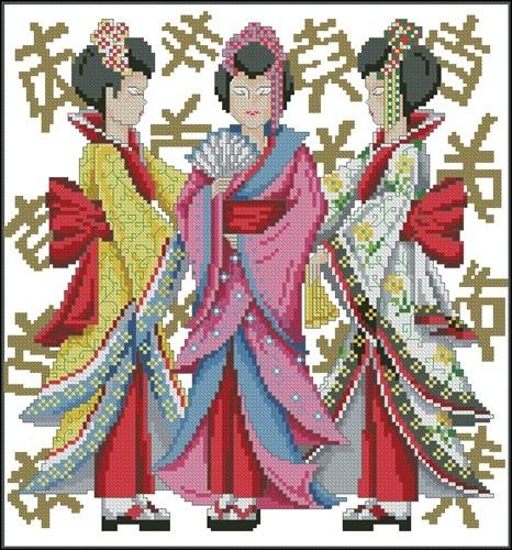 Чехол с гейшами