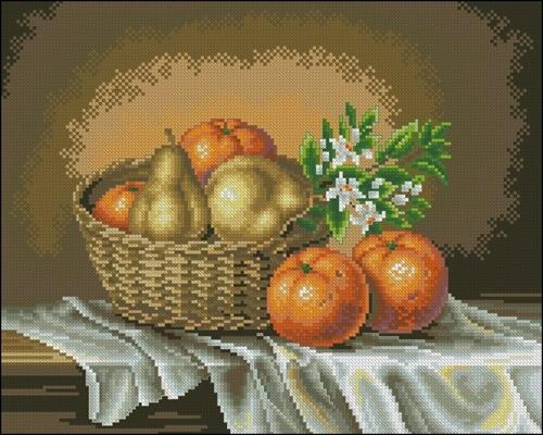 Корзинка с апельсинами и грушами