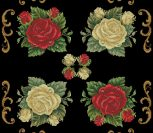Подушка с розами на черном