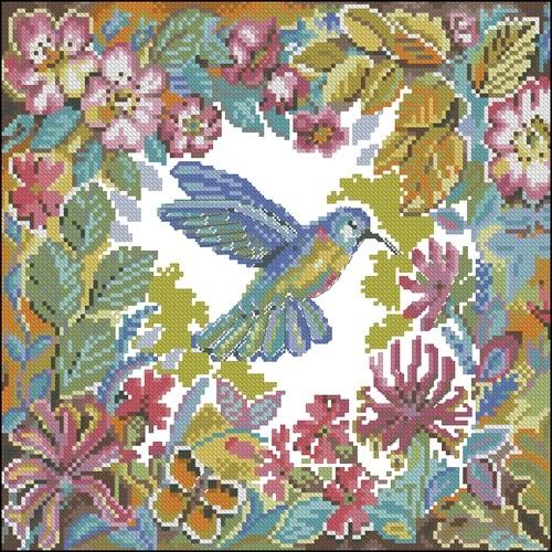 Подушка с колибри