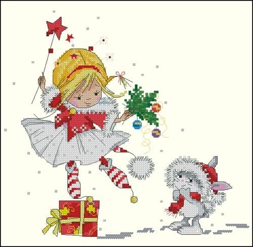 Новогодняя фея с зайкой