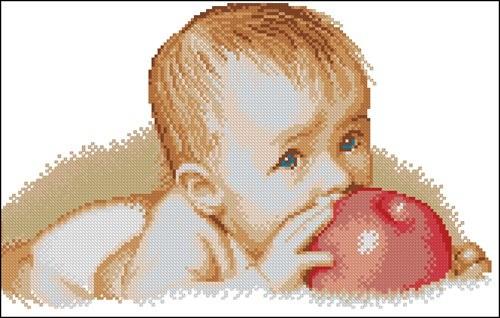 Малыш с красным яблоком