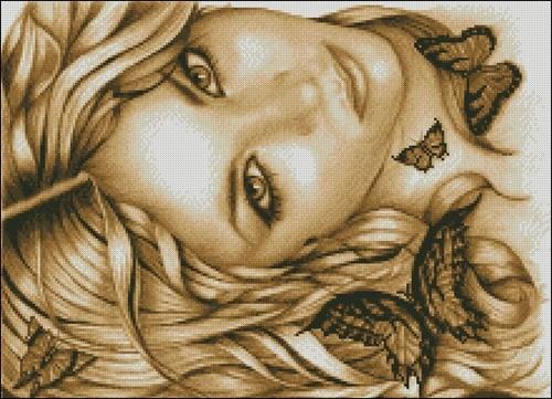 Портрет с бабочками