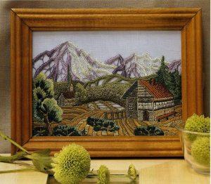 Альпийская долина вышивка гладью