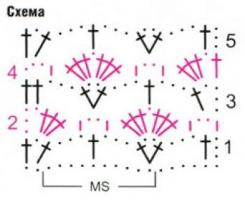 Ажурный узор крючком №2202 схема