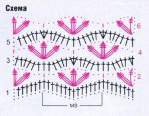 Ажурный узор крючком №2207 схема