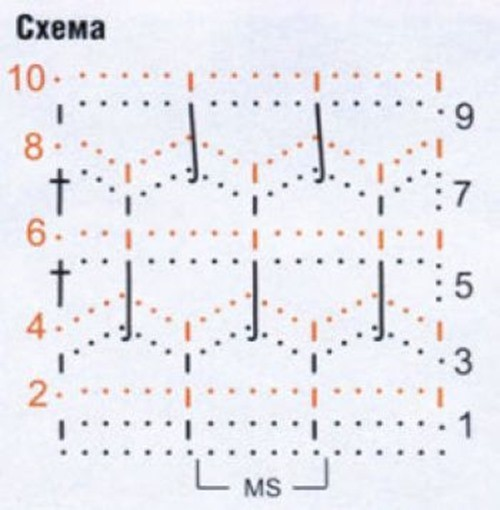Ажурный узор крючком №2208 схема