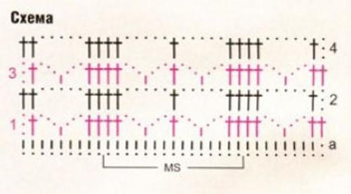 Ажурный узор крючком №2210 схема