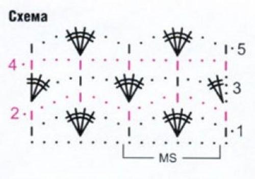 Ажурный узор крючком №2213 схема
