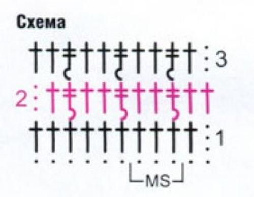 Ажурный узор крючком №2214 схема