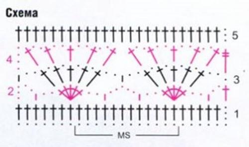Ажурный узор крючком №2216 схема