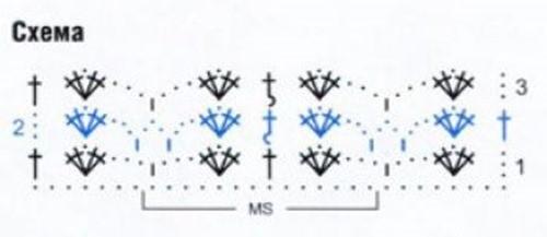 Ажурный узор крючком №2219 схема