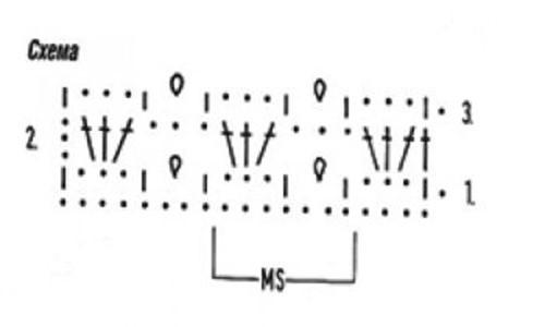 Ажурный узор крючком №2221 схема