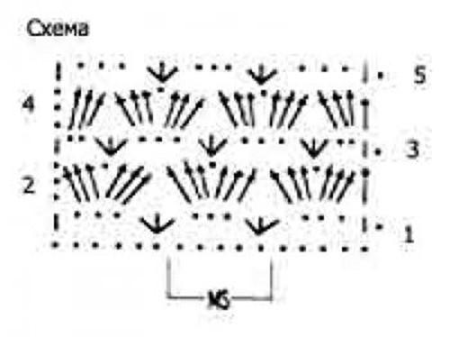 Ажурный узор крючком №2222 схема