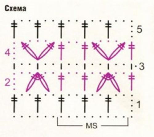 Ажурный узор крючком №2228 схема