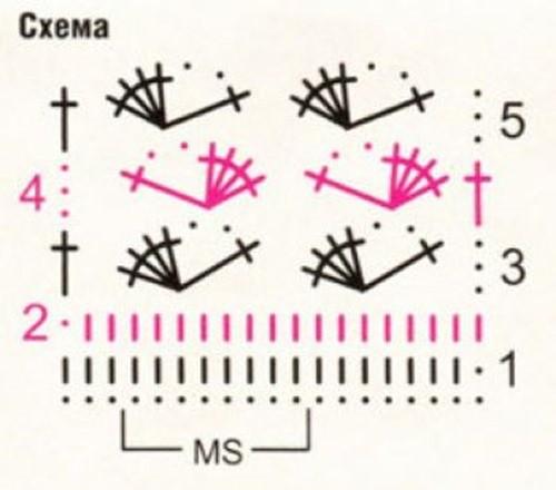 Ажурный узор крючком №2230 схема