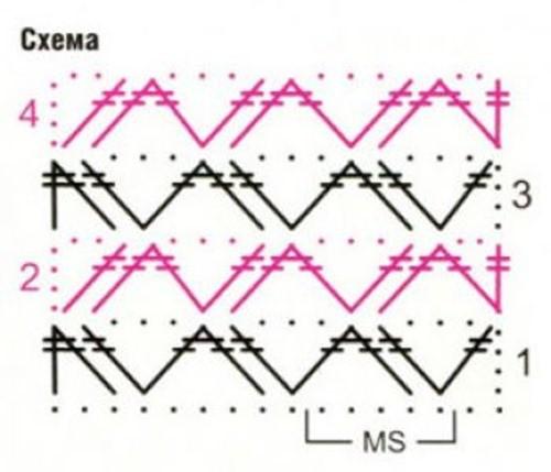Ажурный узор крючком №2234 схема