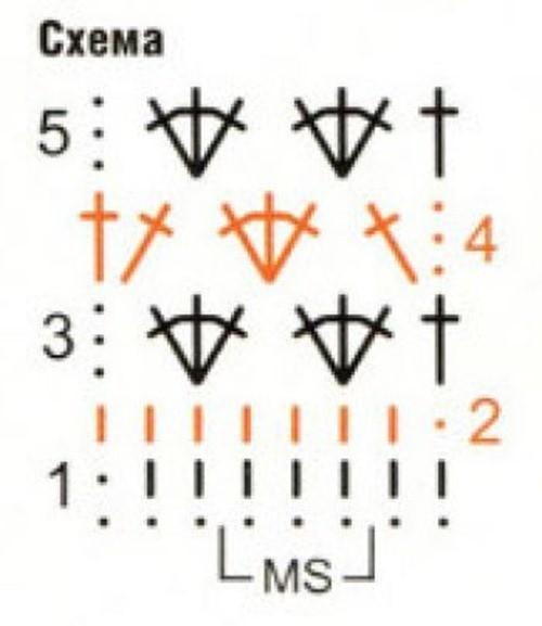 Ажурный узор крючком №2235 схема