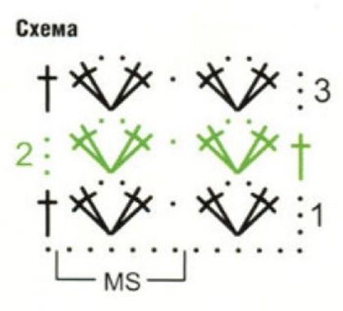 Ажурный узор крючком №2236 схема
