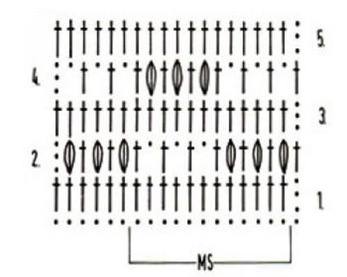 Ажурный узор крючком №2242 схема