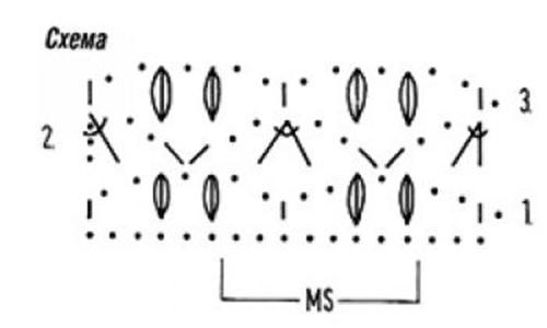 Ажурный узор крючком №2246 схема