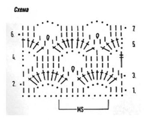 Ажурный узор крючком №2248 схема