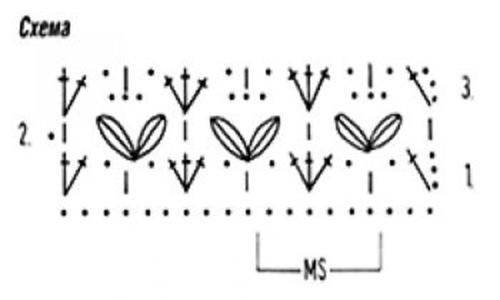 Ажурный узор крючком №2249 схема