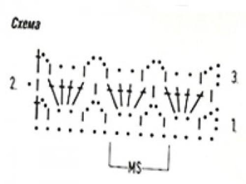 Ажурный узор крючком №2250 схема