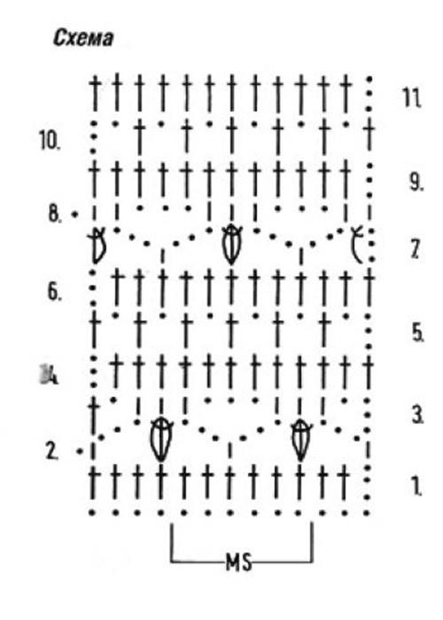 Ажурный узор крючком №2256 схема