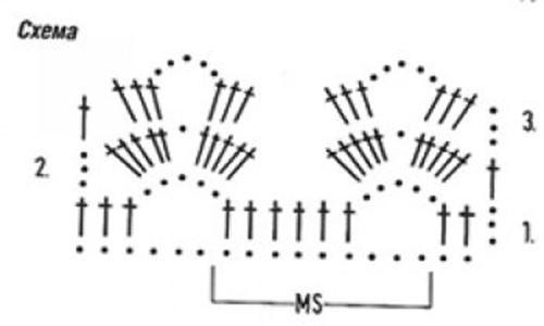 Ажурный узор крючком №2257 схема