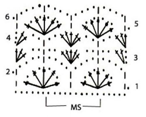 Ажурный узор крючком №2259 схема
