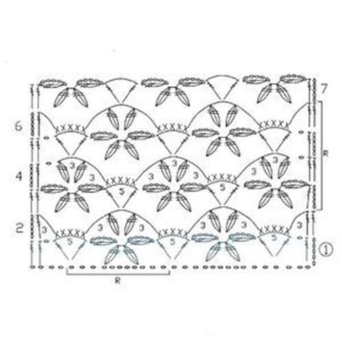 Ажурный узор крючком №2260 схема