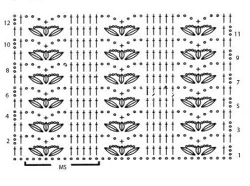 Ажурный узор крючком №2263 схема