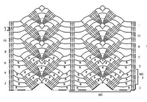Ажурный узор крючком №2264 схема