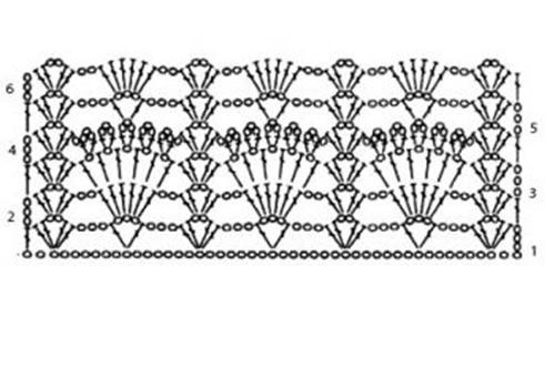 Ажурный узор крючком №2266 схема