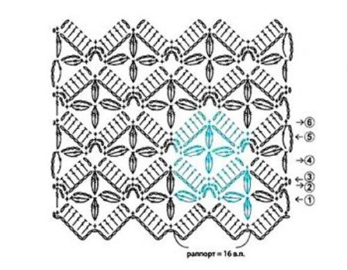Ажурный узор крючком №2267 схема