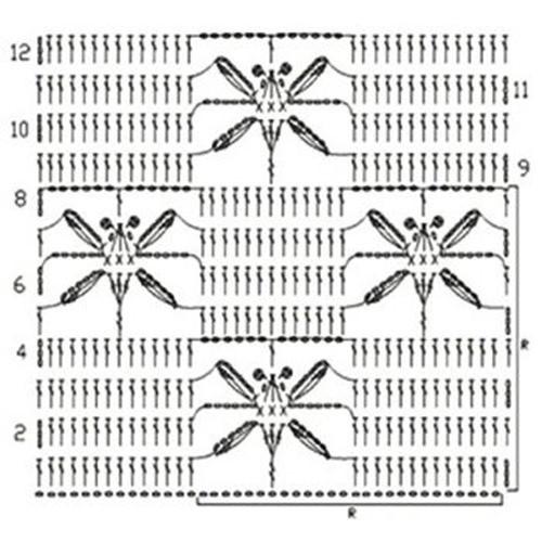 Ажурный узор крючком №2269 схема