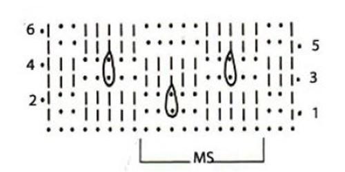 Ажурный узор крючком №2273 схема