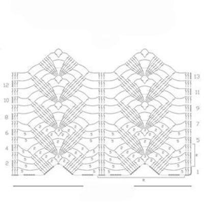 Ажурный узор крючком №2283 схема