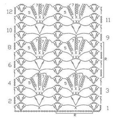 Ажурный узор крючком №2289 схема