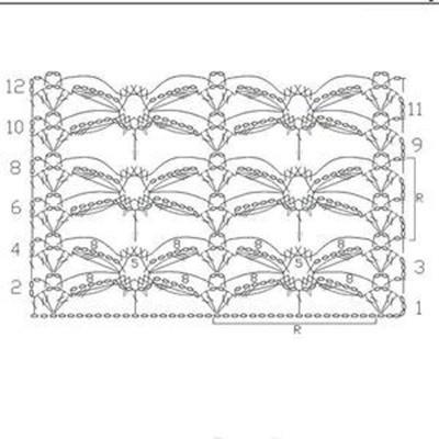 Ажурный узор крючком №2290 схема