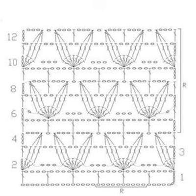 Ажурный узор крючком №2301 схема