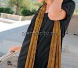 Ажурный золотистый шарф крючком