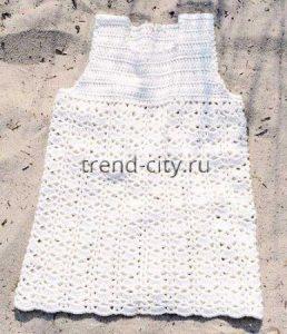 Белое платье крючком для девочки