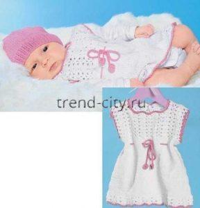 Белое платье крючком для малышки