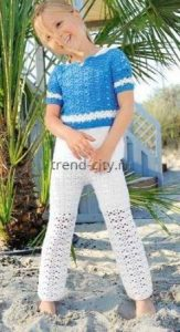 Белые брюки крючком для девочки