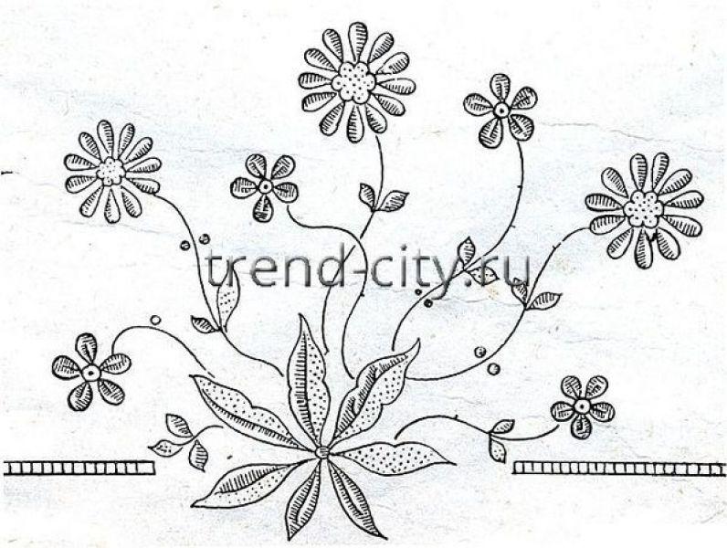 Букет цветков схема гладью