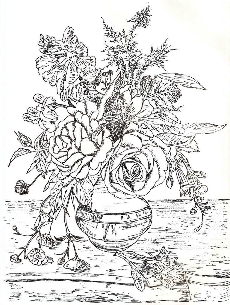 Букет цветов в вазе схема гладью